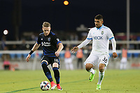 San Jose, CA - Wednesday June 28, 2017: Kip Colvey, Irvin Parra during a U.S. Open Cup Round of 16 match between the San Jose Earthquakes and the Seattle Sounders FC at Avaya Stadium.