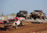 Apr 17, 2011; Surprise, AZ USA; LOORRS driver Rodrigo Ampudia (36) leads Marty Hart (15) and Greg Adler (10) during round 4 at Speedworld Off Road Park. Mandatory Credit: Mark J. Rebilas-
