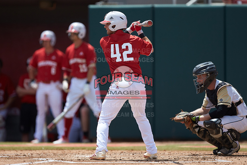 J.T. Jarrett (42) of the North Carolina State Wolfpack at bat against the Army Black Knights at Doak Field at Dail Park on June 3, 2018 in Raleigh, North Carolina. The Wolfpack defeated the Black Knights 11-1. (Brian Westerholt/Four Seam Images)