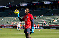 CARSON, CA - FEBRUARY 1: Sean Johnson #24 GK  of the United States warming up during a game between Costa Rica and USMNT at Dignity Health Sports Park on February 1, 2020 in Carson, California.