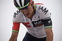 Heinrich Haussler (AUS/IAM) up the snow-covered Colle dell'Agnello (2744m)<br /> <br /> stage 19: Pinerolo(IT) - Risoul(FR) 162km<br /> 99th Giro d'Italia 2016