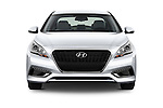 Car photography straight front view of a 2016 Hyundai Sonata Hybrid SE 4 Door Sedan Front View