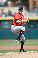 Indianapolis Indians relief pitcher Brandon Waddell (38) in action against the Columbus Clippers at Huntington Park on June 17, 2018 in Columbus, Ohio. The Indians defeated the Clippers 6-3.  (Brian Westerholt/Four Seam Images)