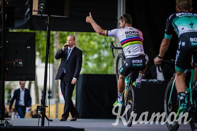 World Champion Peter Sagan (SVK/Bora Hansgrohe) wheelie.<br /> <br /> Le Grand Départ 2018<br /> 105th Tour de France 2018<br /> ©Kramon