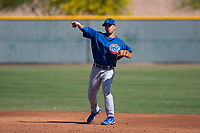 Chicago Cubs infielder Reivaj Garcia (24) during an Extended Spring Training game against the Los Angeles Angels at Sloan Park on April 14, 2018 in Mesa, Arizona. (Zachary Lucy/Four Seam Images)