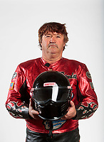 Feb 6, 2020; Pomona, CA, USA; NHRA top fuel nitro Harley Davidson motorcycle rider Randal Andras poses for a portrait during NHRA Media Day at the Pomona Fairplex. Mandatory Credit: Mark J. Rebilas-USA TODAY Sports