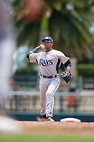 GCL Rays shortstop Luis Leon (1) throws to first base during a game against the GCL Orioles on July 21, 2017 at Ed Smith Stadium in Sarasota, Florida.  GCL Orioles defeated the GCL Rays 9-0.  (Mike Janes/Four Seam Images)