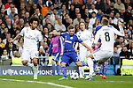 Real Madrid´s Marcelo and Toni Kroos and Schakle 04 Meyer during Champions League soccer match at Santiago Bernabeu stadium in Madrid, Spain. March, 10, 2015. (ALTERPHOTOS/Caro Marin)