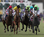DEL MAR, CA - NOVEMBER 03: Rushing Fall #11, ridden by Javier Castellano, center in green and purple, works through the pack in the Breeders' Cup Juvenile Fillies Turf on Day 1 of the 2017 Breeders' Cup World Championships at Del Mar Thoroughbred Club on November 3, 2017 in Del Mar, California. (Photo by Alex Evers/Eclipse Sportswire/Breeders Cup)