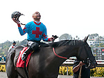 August 8, 2011.Mike Smith riding Joker Face celebraates after he wins the match race against Chantal Sutherland riding Parable at Del Mar Thoroughbred Club, Del Mar CA