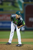 Fort Wayne TinCaps relief pitcher Adrian Martinez (13) looks to his catcher for the sign against the West Michigan Whitecaps at Parkview Field on August 5, 2019 in Fort Wayne, Indiana. The TinCaps defeated the Whitecaps 9-3. (Brian Westerholt/Four Seam Images)