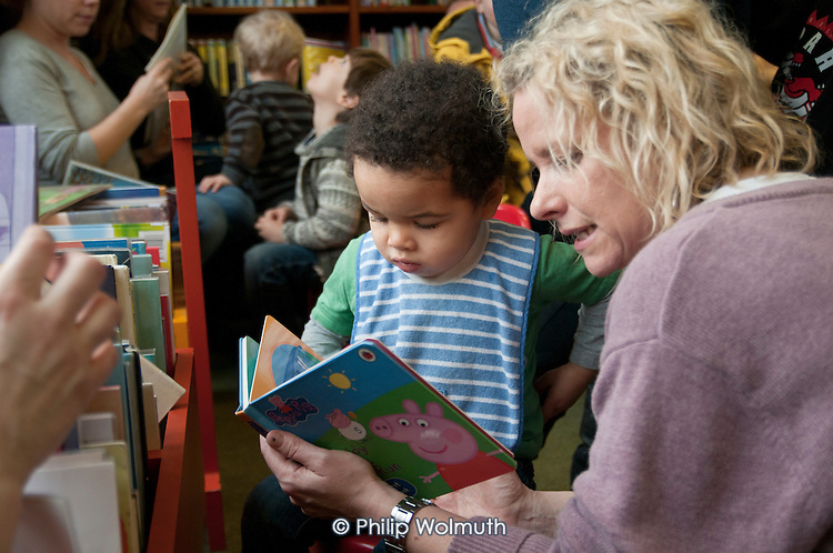 Children's 'Read-in' at Kensal Rise library, Brent. One of six in the borough threatened with closure.