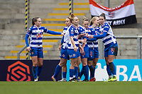7th February 2021; Leigh Sports Village, Lancashire, England; Women's English Super League, Manchester United Women versus Reading Women; Reading celebrate their first goal by Natasha Harding for 0-1