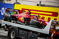 22nd May 2021; Principality of Monaco; F1 Grand Prix of Monaco, qualifying sessions;  LECLERC Charles (mco), Scuderia Ferrari SF21 after he crashed in Q3 and ended the session with him in pole position