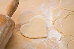 Heart shaped cookie and rolling pin