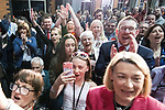 © Joel Goodman - 07973 332324 . 05/05/2017 . Manchester , UK . Labour supporters cheer Andy Burnham's victory as the results are announced . The count for council and Metro Mayor elections in Greater Manchester at the Manchester Central Convention Centre . Photo credit : Joel Goodman