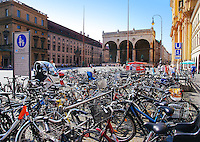 Bicycles on Odeonsplatz in Munich with Feldherrnhalle in background