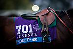ARCADIA, CA - APRIL 01: Bolt d'oro's saddle towel before his final work for the Santa Anita Derby at Santa Anita Park on April 01, 2018 in Arcadia, California. (Photo by Alex Evers/Eclipse Sportswire/Getty Images)