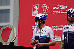 Alex Dowsett (ENG) and Rick Zabel (GER) Israel Start-Up Nation at sign on before the start of Stage 6 of the 2021 UAE Tour running 165km from Deira Island to Palm Jumeirah, Dubai, UAE. 26th February 2021.  <br /> Picture: Eoin Clarke   Cyclefile<br /> <br /> All photos usage must carry mandatory copyright credit (© Cyclefile   Eoin Clarke)