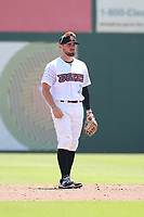 Cody Ramer (7) of the Inland Empire 66ers in the field during a game against the Visalia Rawhide at San Manuel Stadium on June 5, 2017 in San Bernardino, California. Visalia defeated Inland Empire, 9-1. (Larry Goren/Four Seam Images)