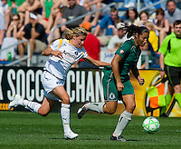 St Louis Athletica midfielder Daniela Alves (10) drives the ball as Los Angeles Sol midfielder Aly Wagner (4) defends during a WPS match at Hermann Stadium, in St. Louis, MO, April 25 2009. The match ended in a 0-0 tie.