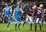 Hearts v St Johnstone…03.02.18…  Tynecastle…  SPFL<br />Richie Foster's shot is saved by Jon McLaughlin<br />Picture by Graeme Hart. <br />Copyright Perthshire Picture Agency<br />Tel: 01738 623350  Mobile: 07990 594431