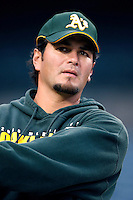 Eric Chavez of the Oakland Athletics during batting practice before a game from the 2007 season at Angel Stadium in Anaheim, California. (Larry Goren/Four Seam Images)