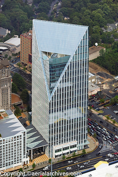 aerial photograph of the Terminus 100 office tower at Peachtree & Piedmont, Atlanta,  Georgia