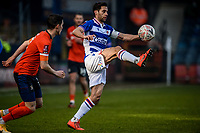 9th January 2021; Kenilworth Road, Luton, Bedfordshire, England; English FA Cup Football, Luton Town versus Reading; Sam Baldock of Reading wins the high ball from Dan Potts of Luton Town.