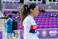 ORLANDO, FL - FEBRUARY 21: Christen Press #23 of the USWNT enters the field before a game between Brazil and USWNT at Exploria Stadium on February 21, 2021 in Orlando, Florida.