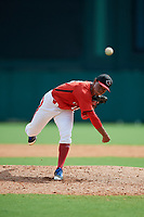 Canadian Junior National Team pitcher Noah Lalonde (16) delivers a pitch during a Florida Instructional League game against the Atlanta Braves on October 9, 2018 at the ESPN Wide World of Sports Complex in Orlando, Florida.  (Mike Janes/Four Seam Images)