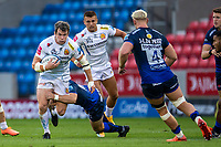 21st August 2020; AJ Bell Stadium, Salford, Lancashire, England; English Premiership Rugby, Sale Sharks versus Exeter Chiefs; Ian Whitten of Exeter Chiefs is tackled