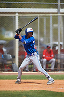 Toronto Blue Jays Angel Del Rosario (62) bats during an exhibition game against the Canada Junior National Team on March 8, 2020 at Baseball City in St. Petersburg, Florida.  (Mike Janes/Four Seam Images)