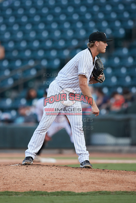 Winston-Salem Dash starting pitcher Chase Solesky (10) looks to his catcher for the sign against the Hudson Valley Renegades at Truist Stadium on August 28, 2021 in Winston-Salem, North Carolina. (Brian Westerholt/Four Seam Images)