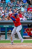 Buffalo Bisons third baseman Gio Urshela (12) at bat during an International League game against the Indianapolis Indians on July 28, 2018 at Victory Field in Indianapolis, Indiana. Indianapolis defeated Buffalo 6-4. (Brad Krause/Four Seam Images)