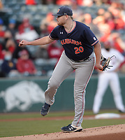 Auburn starter Cody Greenhill follows through with a pitch Thursday, April 1, 2021, during the first inning of play against Arkansas at Baum-Walker Stadium in Fayetteville. Visit nwaonline.com/210402Daily/ for today's photo gallery. <br /> (NWA Democrat-Gazette/Andy Shupe)