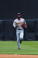Burlington Bees outfielder Torii Hunter (22) jogs into the dugout between innings during a Midwest League game against the Wisconsin Timber Rattlers on May 19, 2018 at Fox Cities Stadium in Appleton, Wisconsin. Wisconsin defeated Burlington 1-0. (Brad Krause/Four Seam Images)
