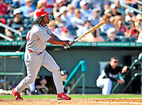 1 March 2009: St. Louis Cardinals' left fielder Brian Barton in action during a Spring Training game against the Florida Marlins at Roger Dean Stadium in Jupiter, Florida. The Cardinals outhit the Marlins 20-13 resulting in a 14-10 win for the Cards. Mandatory Photo Credit: Ed Wolfstein Photo
