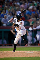 Tri-City ValleyCats right fielder Gilberto Celestino (23) at bat during a game against the Vermont Lake Monsters on June 16, 2018 at Joseph L. Bruno Stadium in Troy, New York.  Vermont defeated Tri-City 6-2.  (Mike Janes/Four Seam Images)