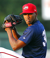 10 Aug 2007: Jimmy James of the Greenville Drive, Class A South Atlantic League affiliate of the Boston Red Sox, in a game against the Delmarva Shorebirds at West End Field in Greenville, S.C. Photo by:  Tom Priddy/Four Seam Images