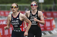 6th June 2021; Leeds, Yorkshire, England;  Jess Learnmonth competes against Maya Kingma during the AJ Bell 2021 World Triathlon Series Event in Roundhay Park, Leeds.