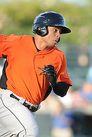 Outfielder Steven Bumbry (1) of the Frederick Keys in a game against the Myrtle Beach Pelicans on August 4, 2012, at TicketReturn.Com Field in Myrtle Beach, South Carolina. Myrtle Beach won, 4-3. (Tom Priddy/Four Seam Images)