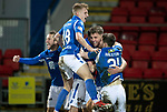 St Johnstone v Motherwell…..12.02.20   McDiarmid Park   SPFL<br />Chris Kane and Jason Kerr celebrae the late winner with Ali McCann, Stevie May and Anthony Ralston.<br />Picture by Graeme Hart.<br />Copyright Perthshire Picture Agency<br />Tel: 01738 623350  Mobile: 07990 594431