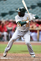 Oakland Athletics first baseman Sandber Pimentel (15) during an Instructional League game against the Arizona Diamondbacks on October 10, 2014 at Chase Field in Phoenix, Arizona.  (Mike Janes/Four Seam Images)