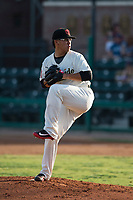 Visalia Rawhide starting pitcher Bo Takahashi (19) prepares to deliver a pitch during a California League game against the Stockton Ports at Visalia Recreation Ballpark on May 8, 2018 in Visalia, California. Stockton defeated Visalia 6-2. (Zachary Lucy/Four Seam Images)