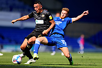 13th September 2020; Portman Road, Ipswich, Suffolk, England, English League One Footballl, Ipswich Town versus Wigan Athletic; Teddy Bishop of Ipswich Town tackles Gary Roberts of Wigan Athletic