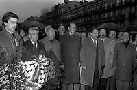 24Janvier 1982. Vue de Pierre Baudis et de Jacques Chirac lors d'une cérémonie aux Monuments aux Morts.