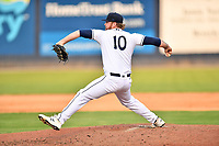 Asheville Tourists pitcher Tyler Brown (10) delivers a pitch during a game against the Aberdeen IronBirds on June 18, 2021 at McCormick Field in Asheville, NC. (Tony Farlow/Four Seam Images)