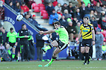 Outside half Ian Keatley puts Munster into the lead with a second half conversion kick.<br /> Guiness Pro12<br /> Scarlets v Munster<br /> 21.02.15<br /> ©Steve Pope -SPORTINGWALES