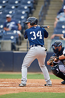 Lakeland Flying Tigers designated hitter Dylan Burdeaux (34) at bat in front of catcher Keith Skinner (10) during a game against the Tampa Tarpons on April 8, 2018 at George M. Steinbrenner Field in Tampa, Florida.  Lakeland defeated Tampa 3-1.  (Mike Janes/Four Seam Images)
